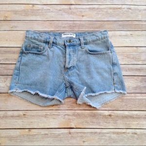 American Apparel fringed button up denim shorts